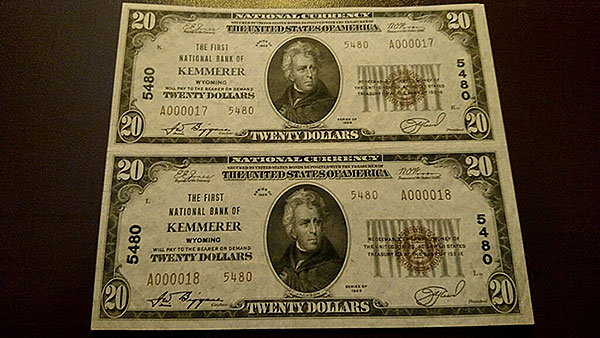 $20 Kemmerer County Bank Notes