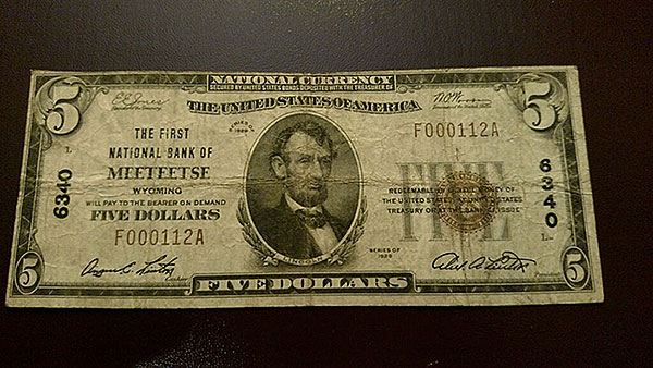 $5 Meeteese Wyoming Bank Note
