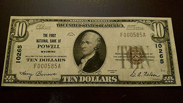 $10 Powell Wyoming Bank Note