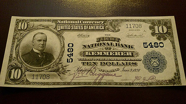 $10 Kemmerer Bank Note