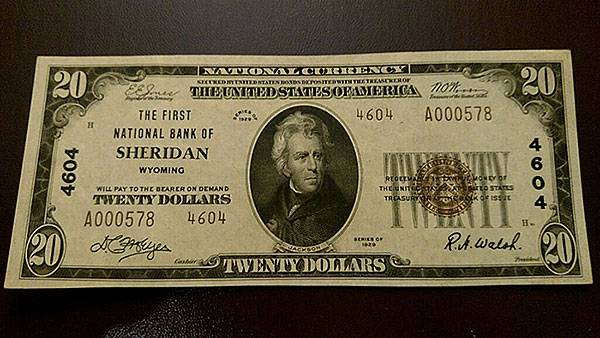 $20 Sheridan Wyoming Bank Note