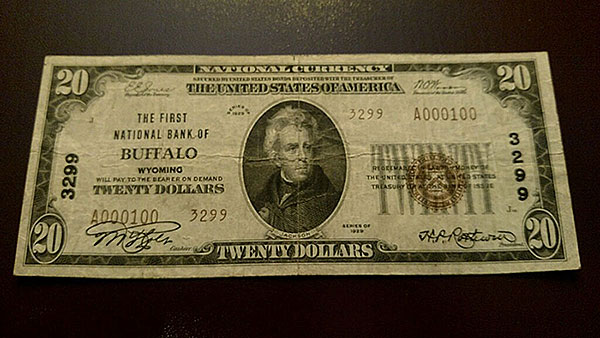 $20 Buffalo Wyoming Bank Note