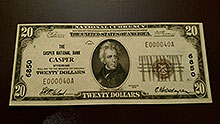 $20 Casper Wyoming Bank Note