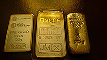 5oz, 250g, 100g gold bars