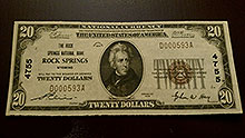 $20 Rock Springs Bank Note